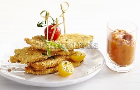 chicken in crunchy breadcrumbs on skewers