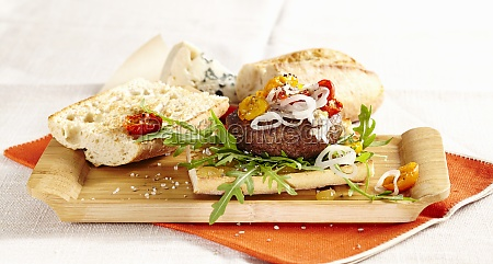 french style cheeseburger with roquefort roasted