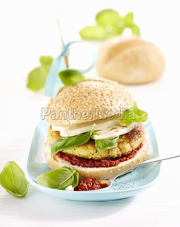 vegetarian vegetableburger with pesto rosso