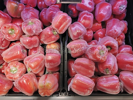 red peppers in plastic