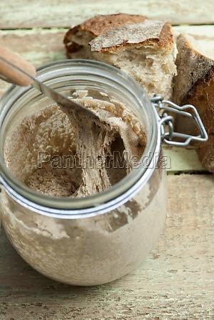 natural bread starter in mason jar