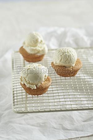 mini almond muffins with vanilla ice