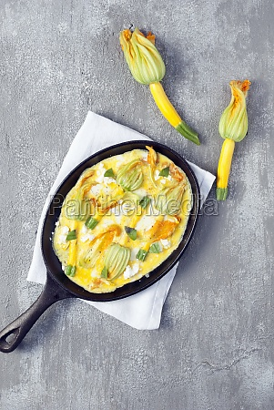 zucchini blossom omelette with feta cheese
