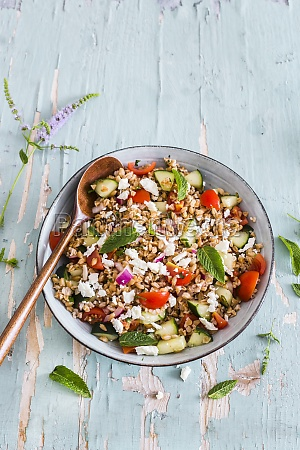 farro salad with cherry tomatoes