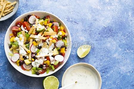 vegan taco salad with vegan ranch