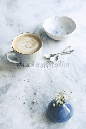 coffee with milk in ceramic mug