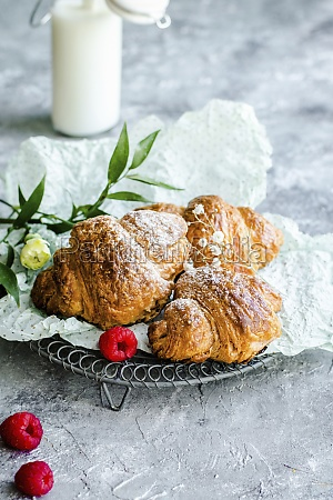 croissants for breakfast sprinkled with powdered