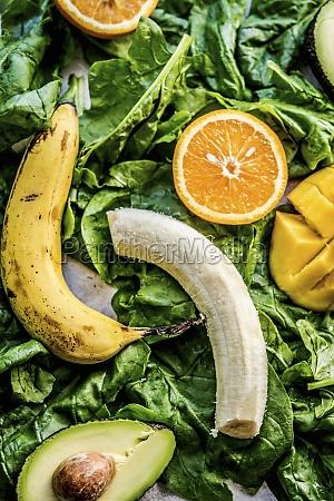 bananas oranges mango avocados and spinach