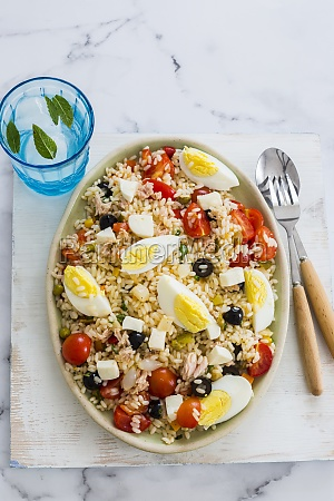 italian rice salad with eggs and