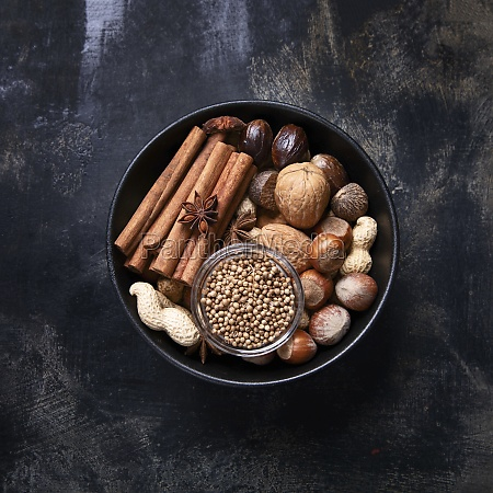 various spices and nuts