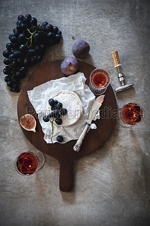 still life with cheese wine and