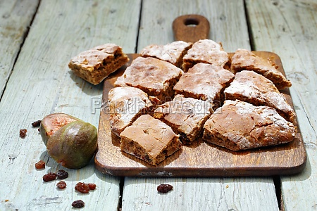 fig bread on a chopping board