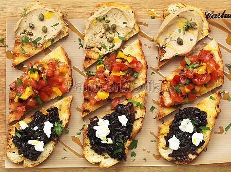 bruschetta with tuna tomatoes and tapenade