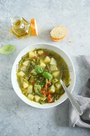ligurian soup with potatoes green beans