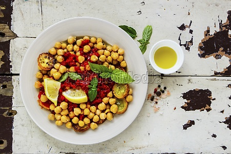 chick pea salad with zucchini in