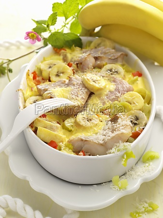 leek and fish casserole with bananas