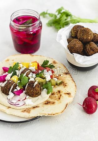 pita bread with falafel hummus and
