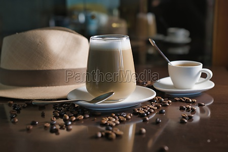 delicious aromatic brown beverage with white