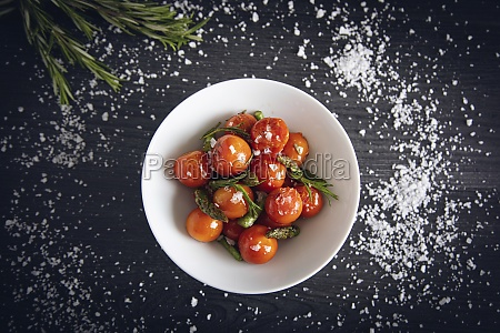 fresh cherry tomatoes sauteed with green