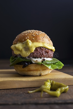 a vegetarian burger with a meatless