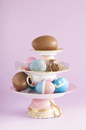 centerpiece composition of porcelain colourful easter