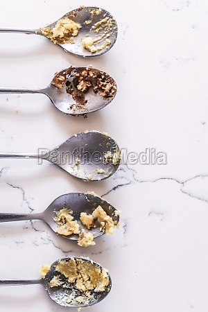 cookie dough on spoons