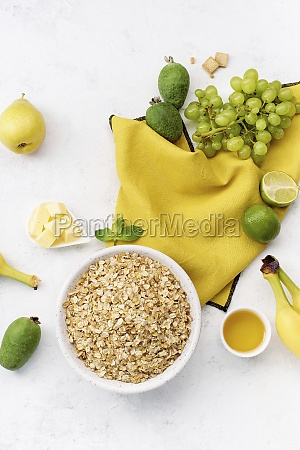 breakfast oats with grapes feijoa limes