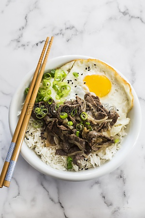 gyudon bowl with rice beef and