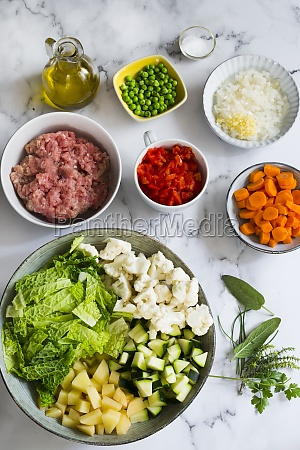 ingredients for meat and vegetables soup
