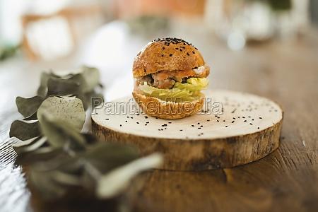 appetizing yummy hamburger with crispy bun