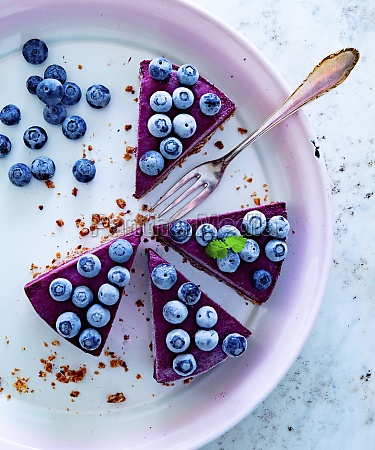 slices of blueberry cake on a