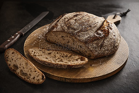 sour dough bread sliced on a