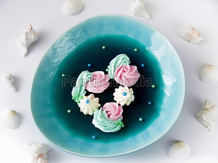 blue jelly with curd cream