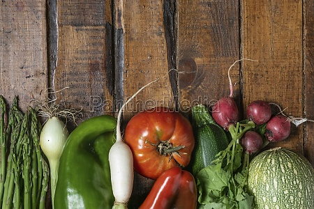 fresh organic vegetables on a dark