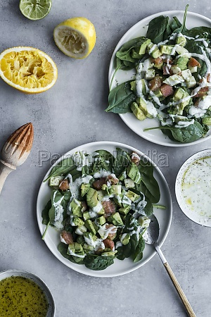 appetizing healthy salmon salad with greenery
