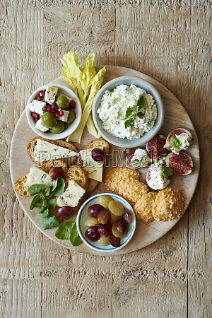 cheese platter with feta chese patea