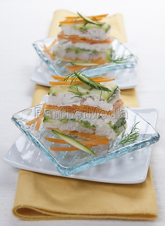 trout millefeuille with carrots courgettes and