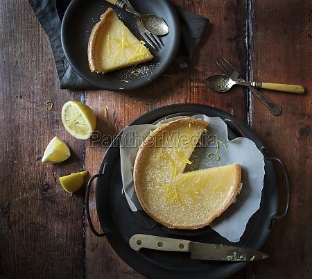 lemon tart with slice taken out