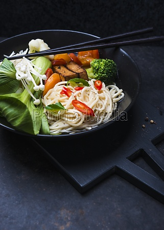 ramen with tofu mushrooms and vegetables