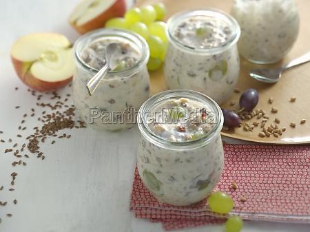 autumnal fresh grain muesli with apples