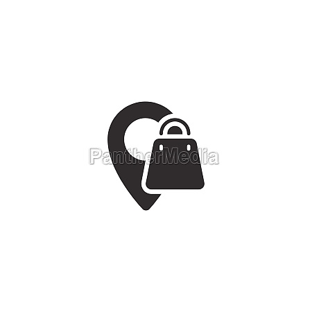 location shopping bag isolated icon commerce