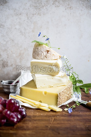 different types of cheese stacked