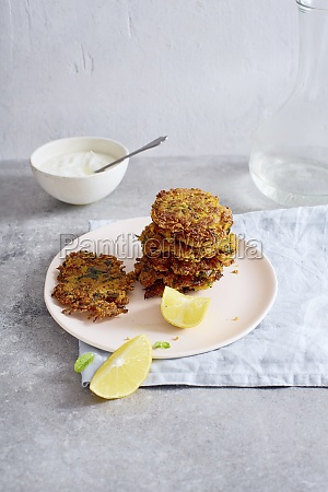 israelian potato latkes with lemon and