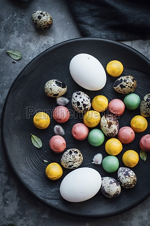 easter eggs with chocolate candies