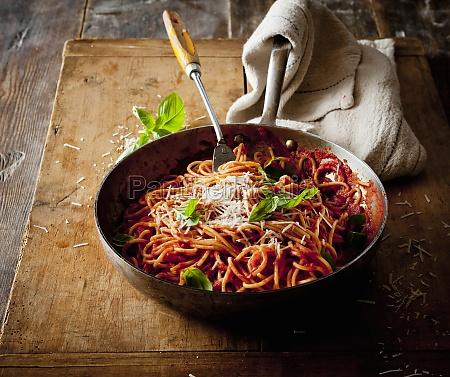spaghetti with tomato sauce in a