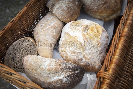 various fresh bread rolls in a