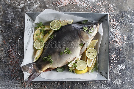 fresh carp in a dish with
