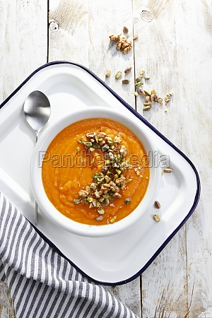 pumpkin soup with pistachio and nutty
