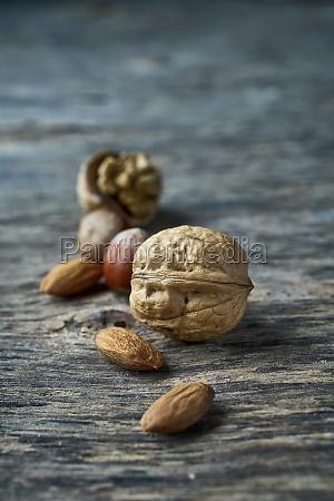 walnuts hazelnuts and almonds on a