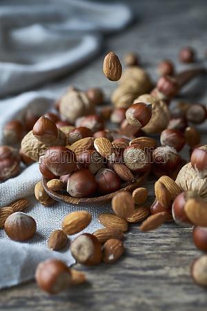 hazelnuts almonds and walnuts on a